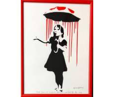 Nola Girl with Umbrella Red Rain and Red Top